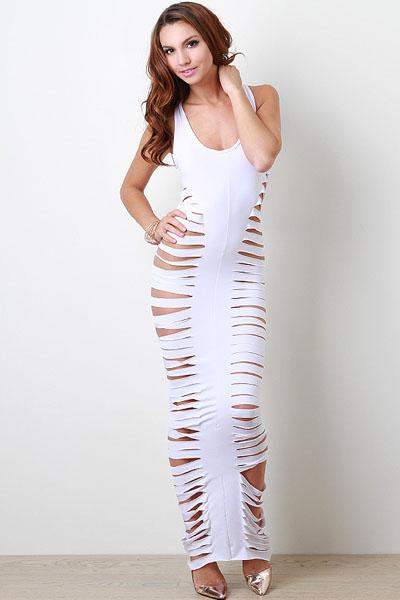 73256240f7ef Белое облегающее платье в пол с боковыми разрезами - купить ...