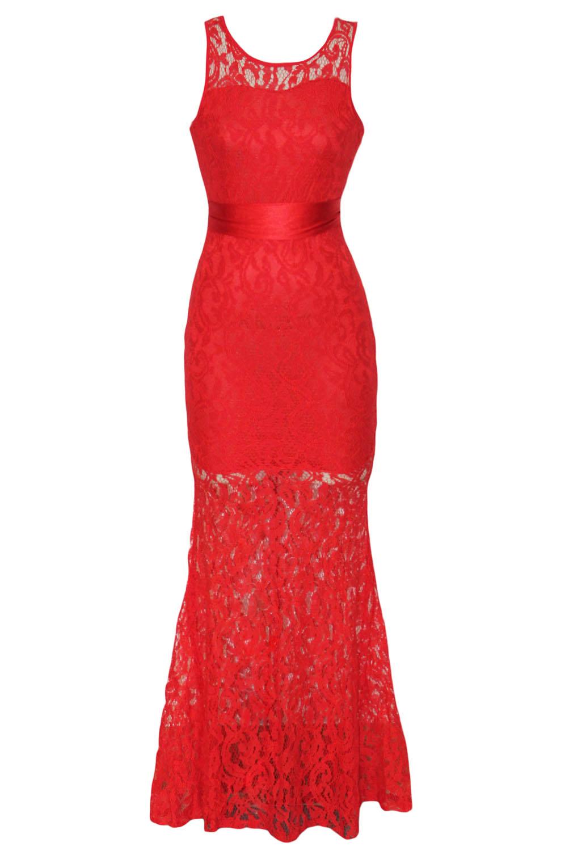 ed9902a22b0 Красное кружевное платье в пол с поясом на талии - купить наложенным ...