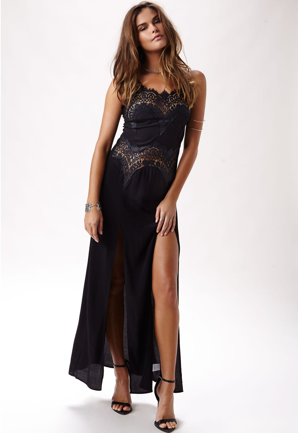 Eye Candy Eyelash Lace Long Dress