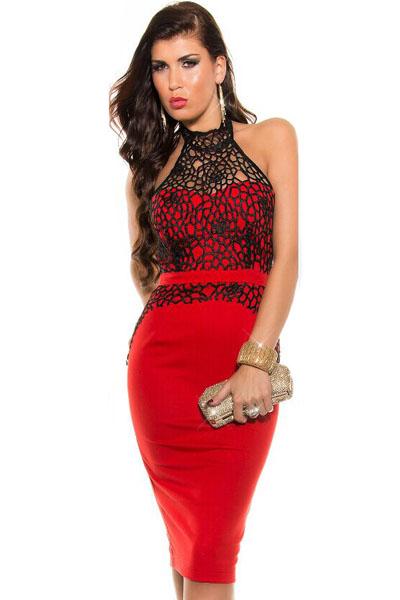 Платье корсетом красное черным