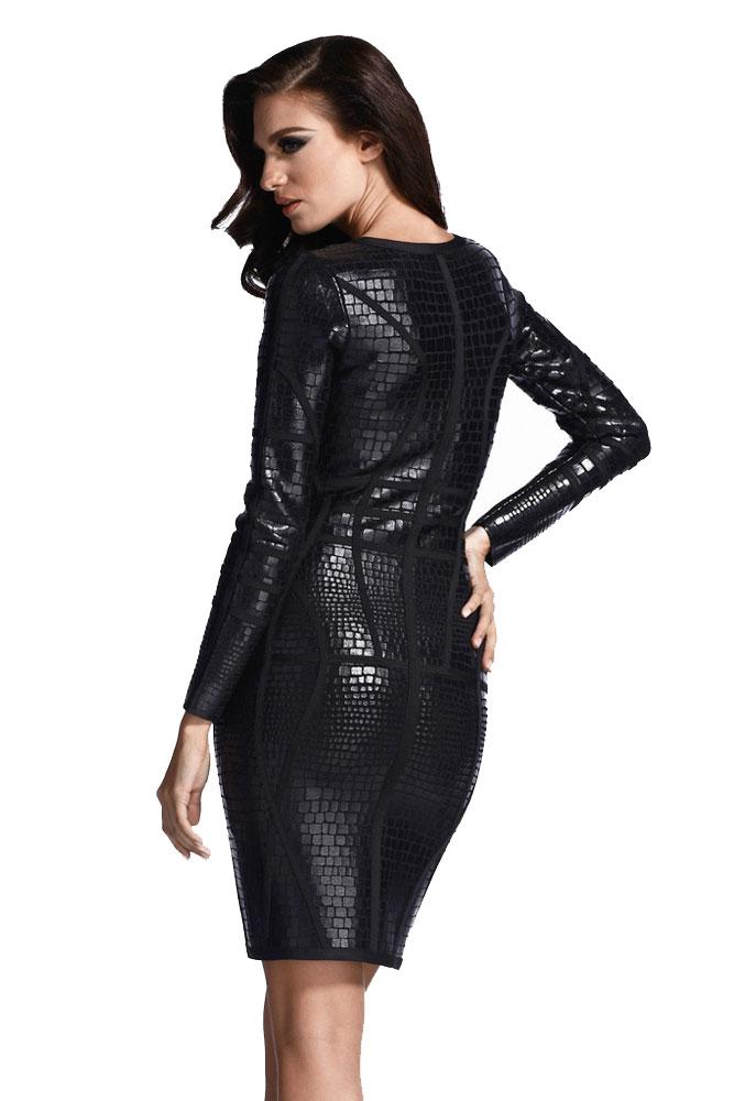 92f2072496a Черное кожаное платье под змеиную кожу и на молнии - купить ...
