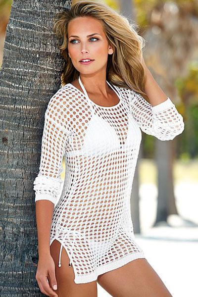 Платье для пляжа в сетку