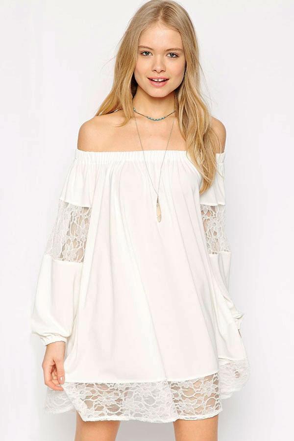 33f61f6b543 Белое шифоновое платье-трапеция с кружевными вставками - купить ...