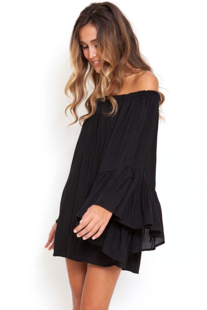 Черное платье из шифона с рукавами