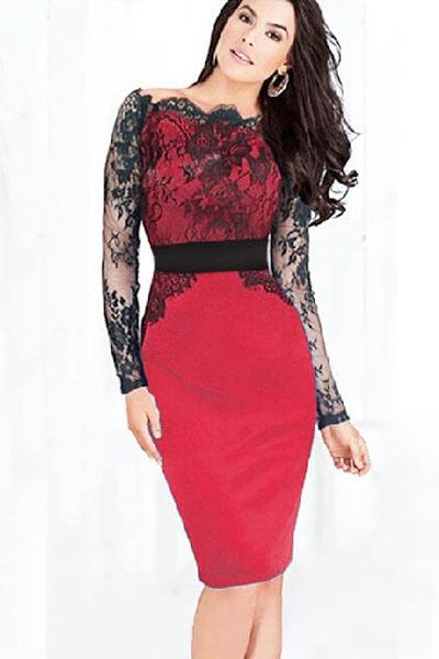 Платье красное с черным круживом фото