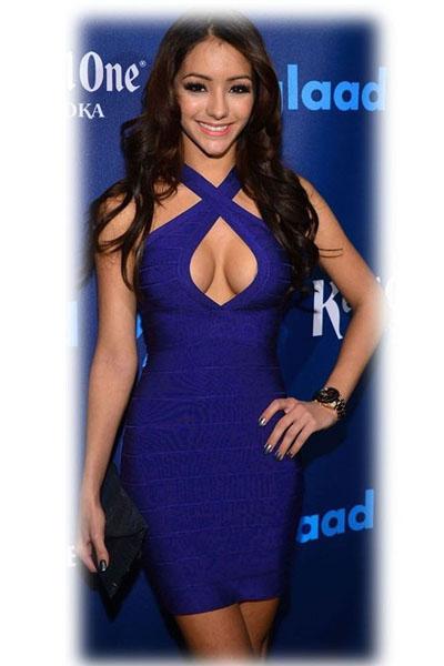 Бандажное платье синее с