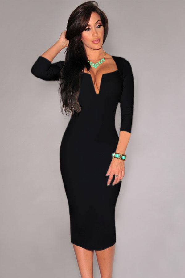 Облегающие черное платье купить