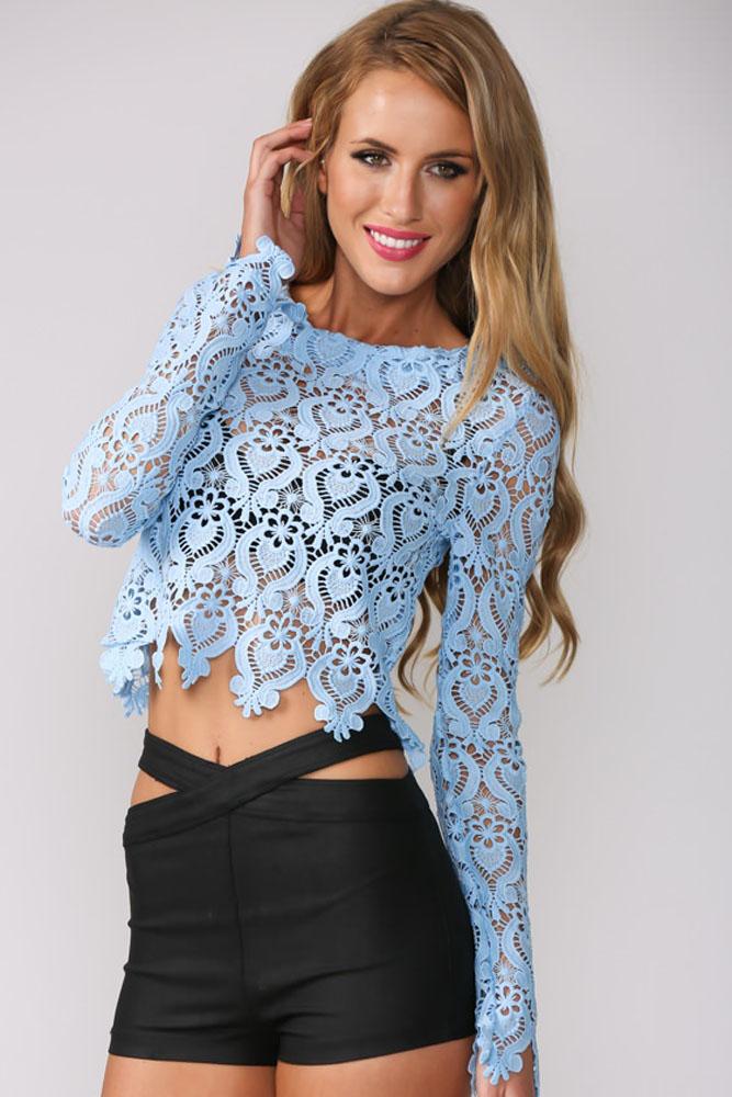 c6ddead5a89 Голубая короткая кружевная блузка на молнии - купить наложенным платежом