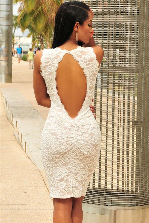 8dfa9fbeb39 Белое кружевное платье с открытой спиной - купить наложенным платежом
