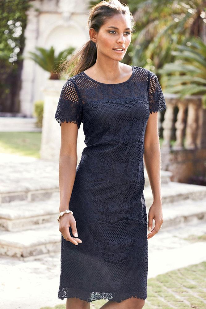 0a8cb91d0e3 Синее прямое платье из кружева с коротким рукавом - купить ...