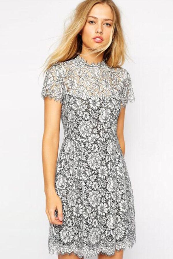 Серое кружевное платье купить