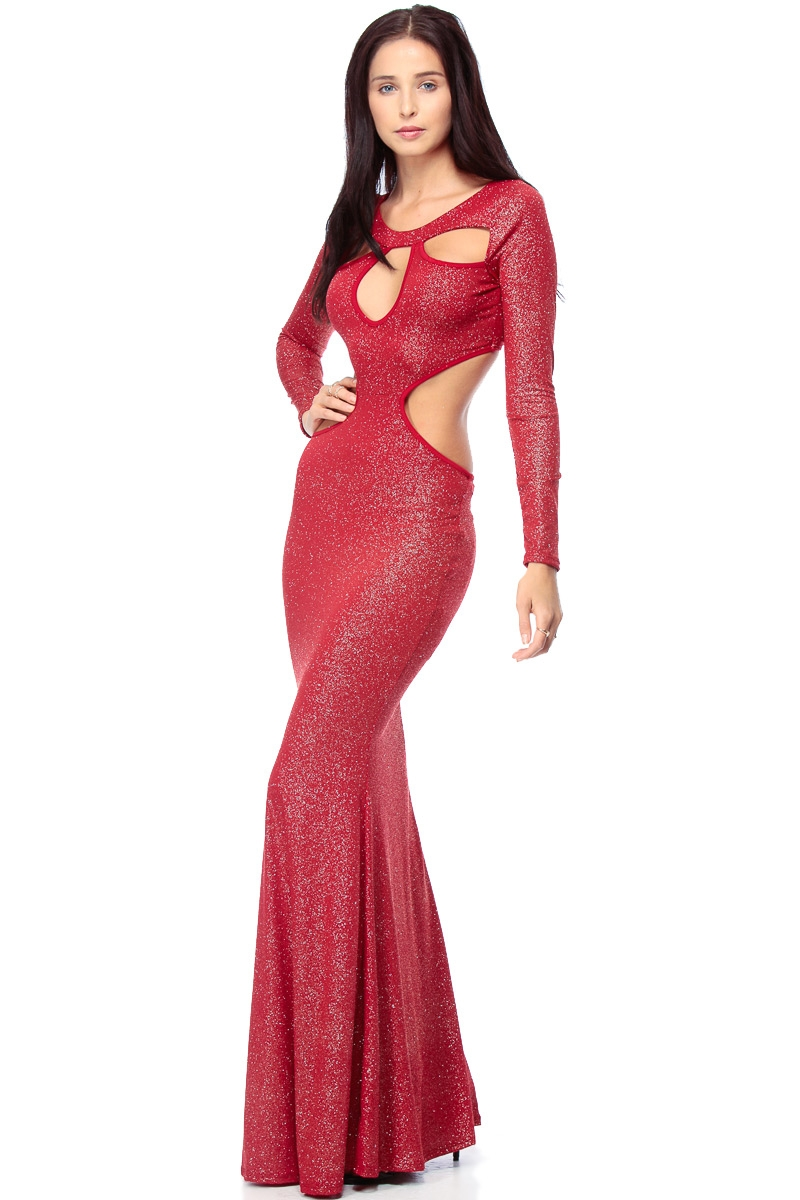 Timeless Metallic Cut outs Red Maxi Evening Dress