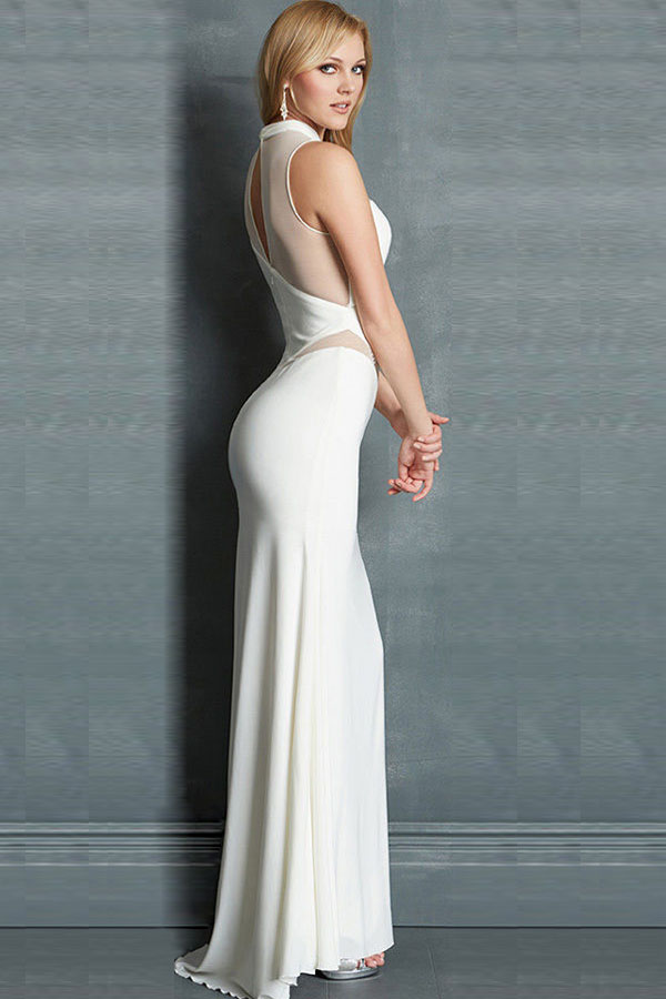 Sultry Sheer Asymmetrical White Evening Gown