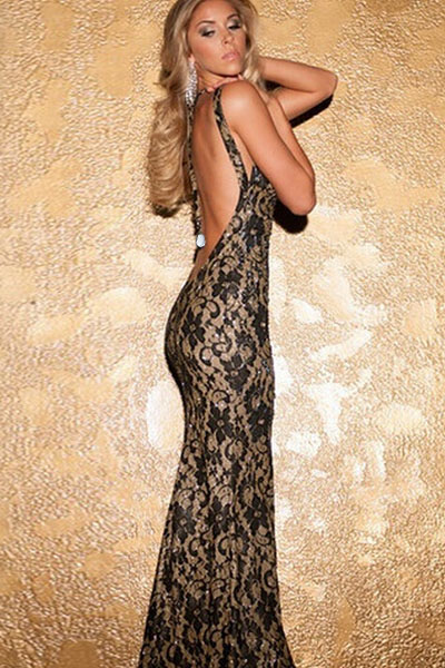 Black Metallic Look Lace Mermaid Long Evening Dress