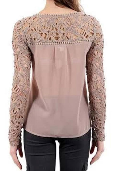 Hollow Out Lace Long-sleeve Chiffon Blouse