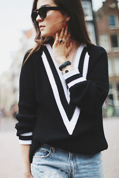 Black School Style V Neck Pullover Knit Sweater