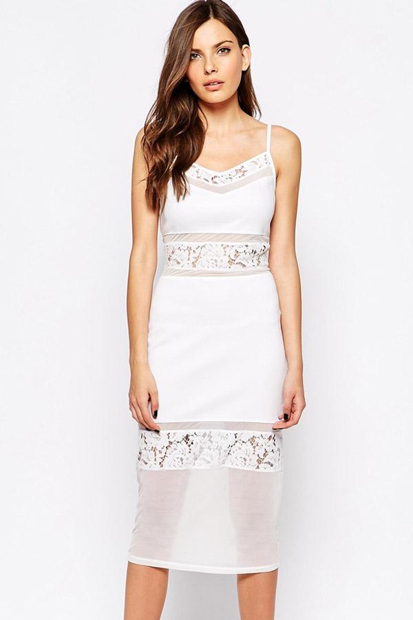 1ccbc4e7da1 Белое платье-миди с кружевными и прозрачными вставками - купить ...