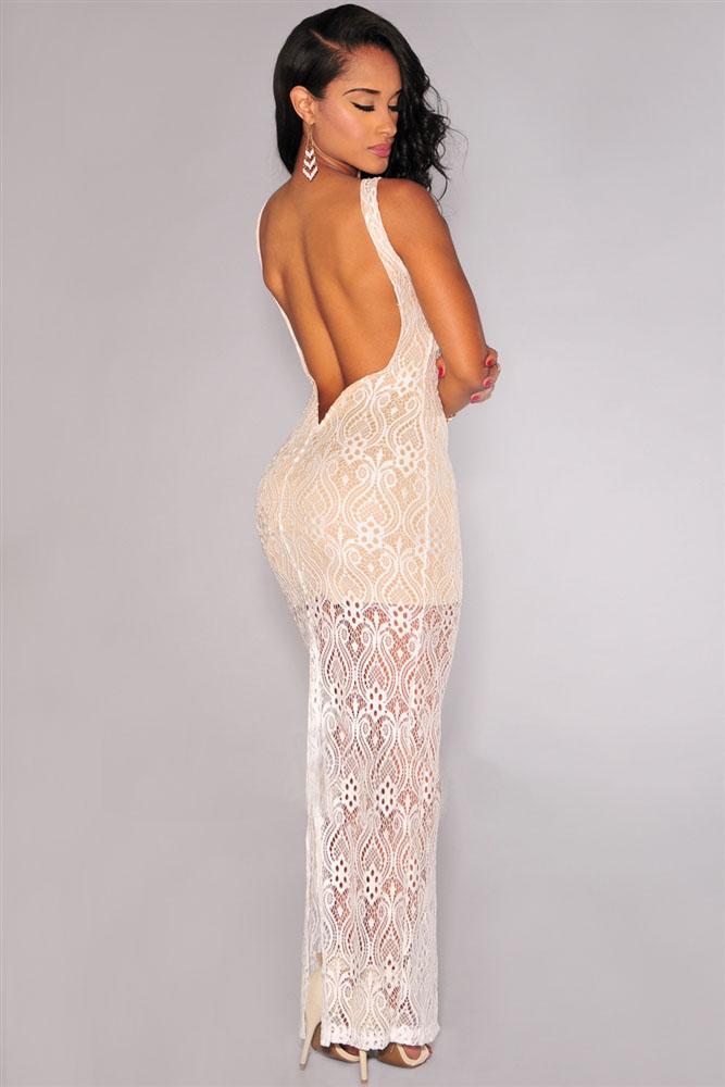 Белое гипюровое платье в пол и с открытой спиной - купить наложенным ... 983caa4380c