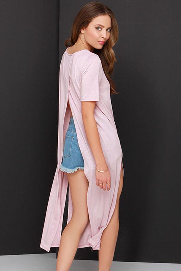 915a749584135a5 Розовое трикотажное платье миди с разрезами и с запахом на спине - купить  наложенным платежом