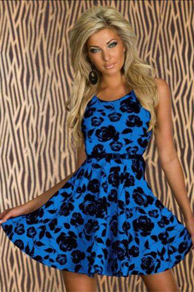 Синее с черным платье доставка