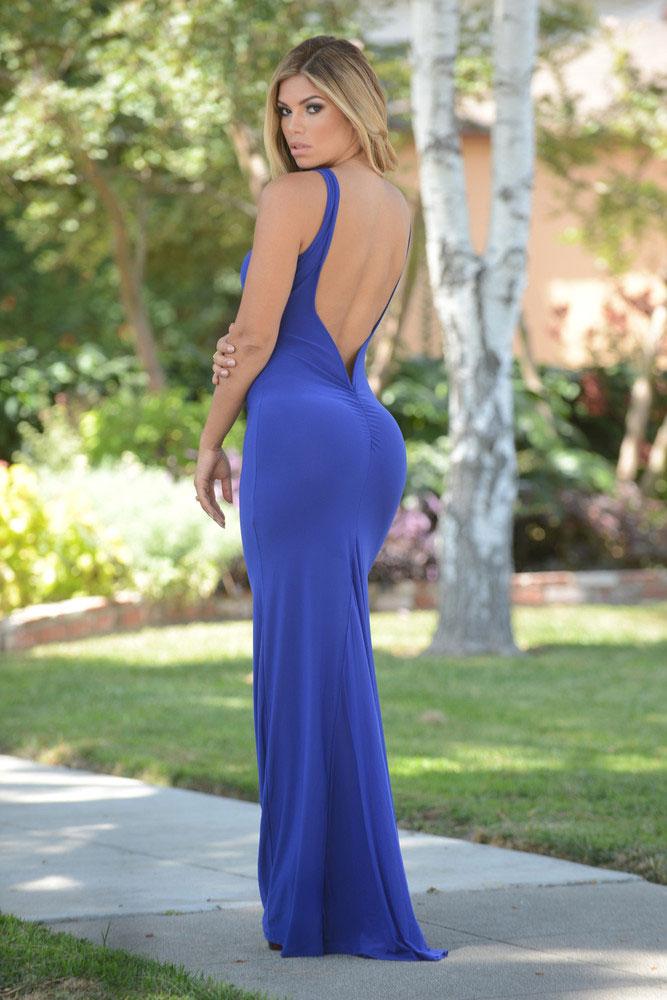 48b7b49be68 Синее платье в пол с открытой спиной - купить наложенным платежом