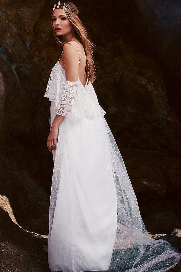 ... Белое платье в пол с кружевной оборкой на топе и с открытой спиной.  img. img img img a8b3ac122ef