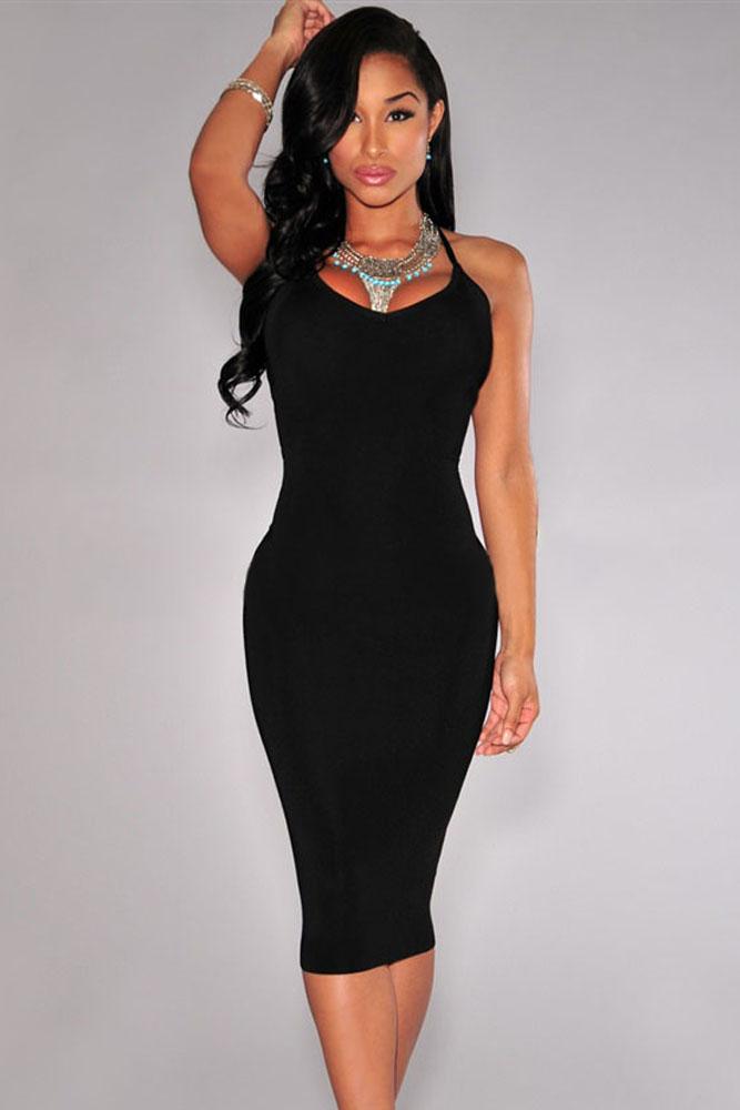 75d6926e70ae1b3 Черное платье на бретельках с открытой спиной - купить наложенным ...