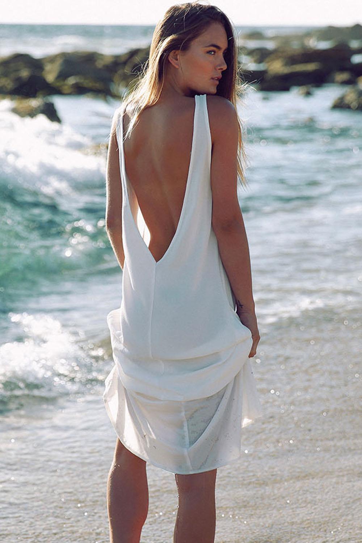 Белое пляжное платье в пол с открытой спиной - купить наложенным ... d0b186357e7