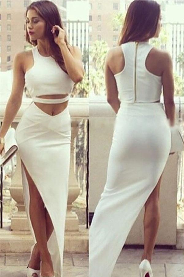 Белый топ и юбка в пол