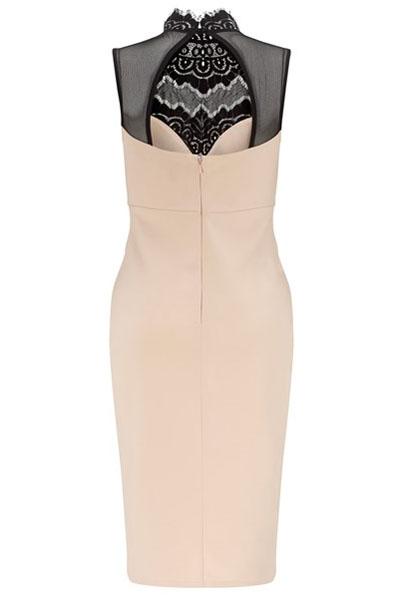 8bb05f77cd4 Бежевое платье-футляр с черным кружевным верхом - купить наложенным ...