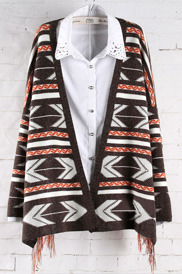 Coffee Ethic Geometric Pattern Fringed Cape Cardigan