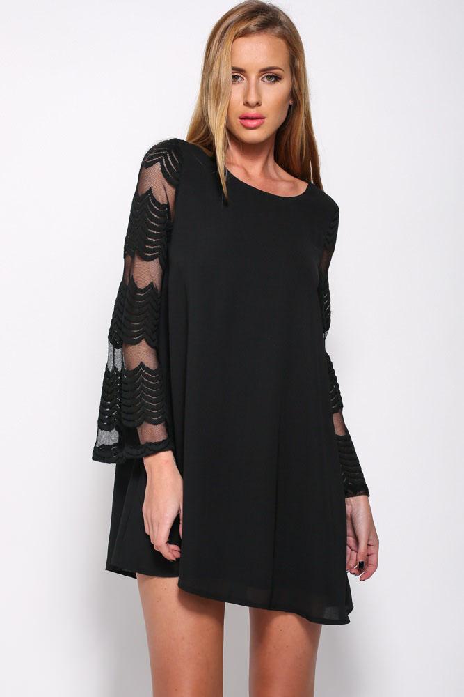 Купить расклешенное черное платье
