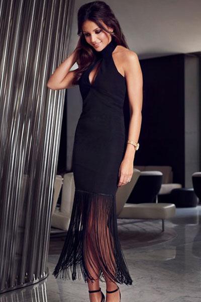 fb408a4272d Черное обтягивающее платье с бахромой по низу - купить в Перми
