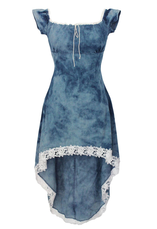 cad75982eae Синее джинсовое асимметричное платье с отделкой белым кружевом ...