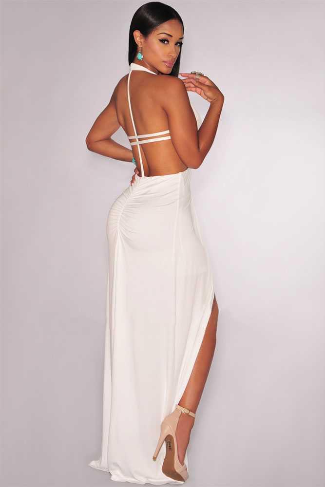 ... Вечерние платья  Белое платье в пол с открытой спиной и разрезом на  юбке. img 01c451ac57c