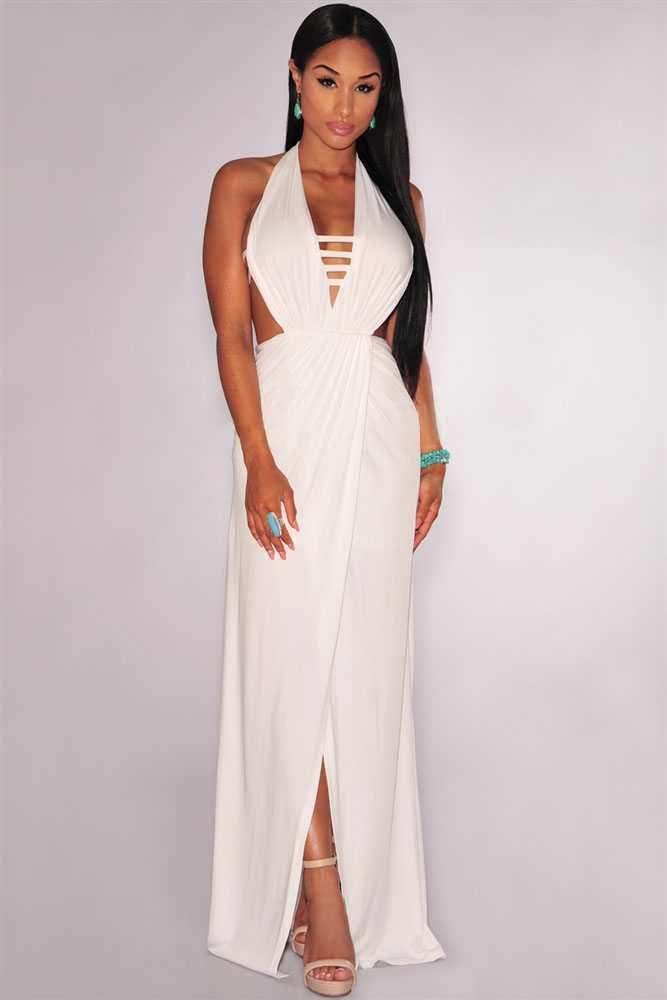Белое платье в пол с открытой спиной и разрезом на юбке - купить ... bcc1233b057