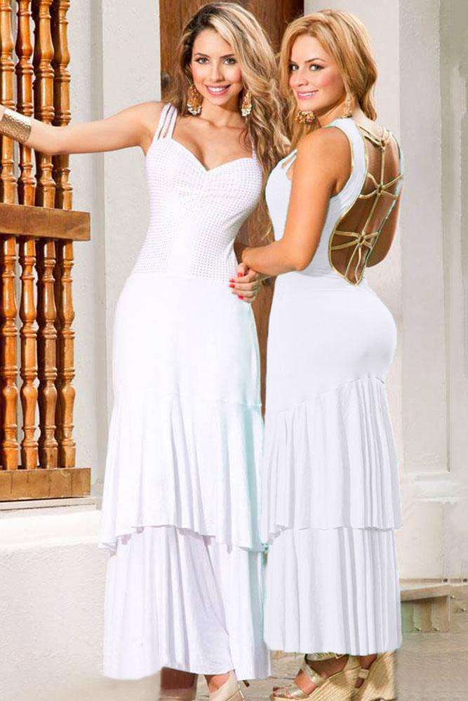 Белое платье в пол с открытой спиной и двойным подолом - купить ... 6c932e0dfb6