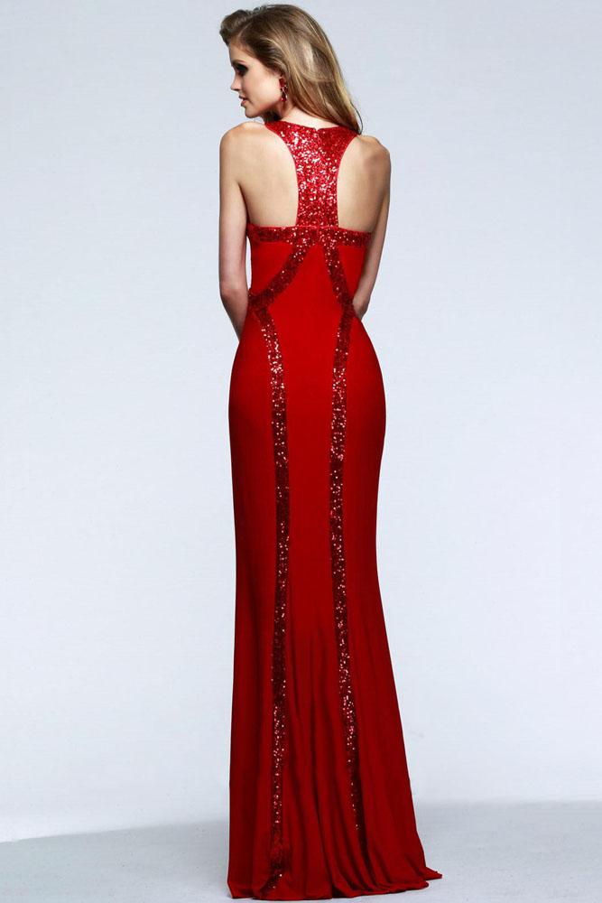 ffdc2eb4c45c0f4 Красное приталенное платье в пол украшенное пайетками - купить ...