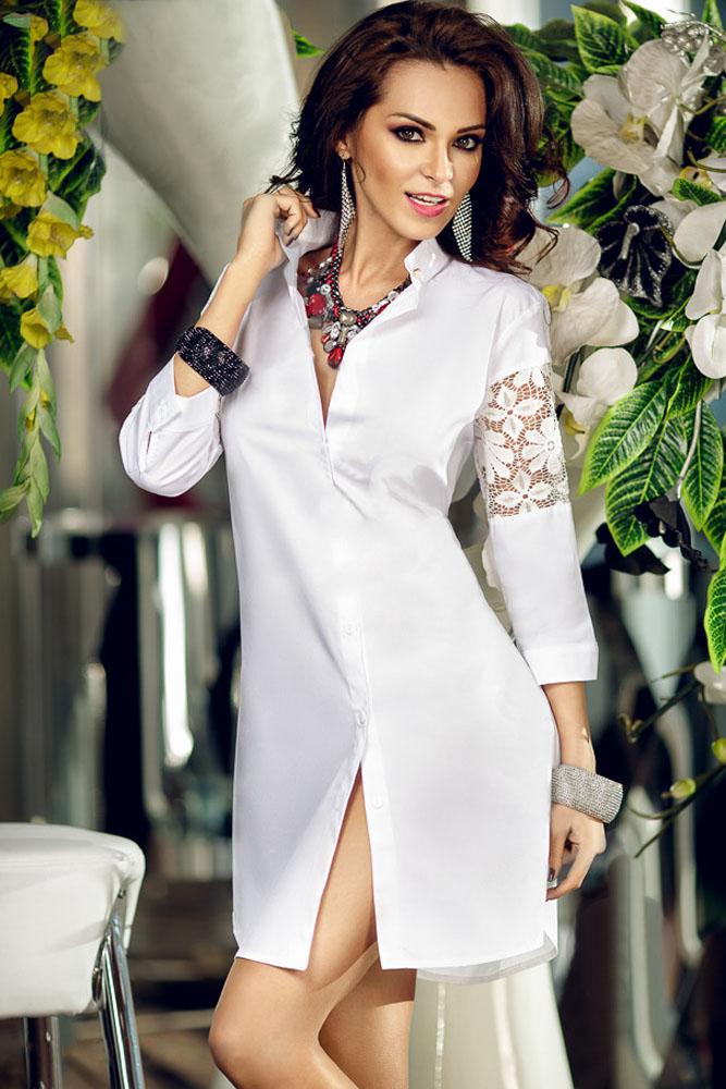 Купить белую блузку с кружевными вставками