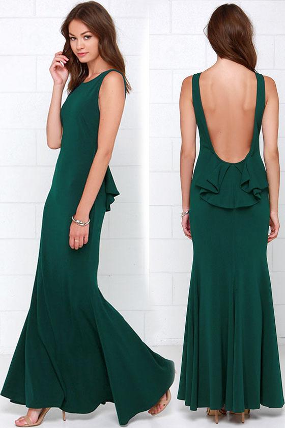 c9bd1b3cadd Платье- русалка  изумрудного цвета с открытой спиной - купить ...