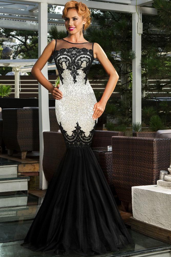 Черно-белое блестящее платье  русалка  с открытой спиной - купить ... 2b0ea1412e7
