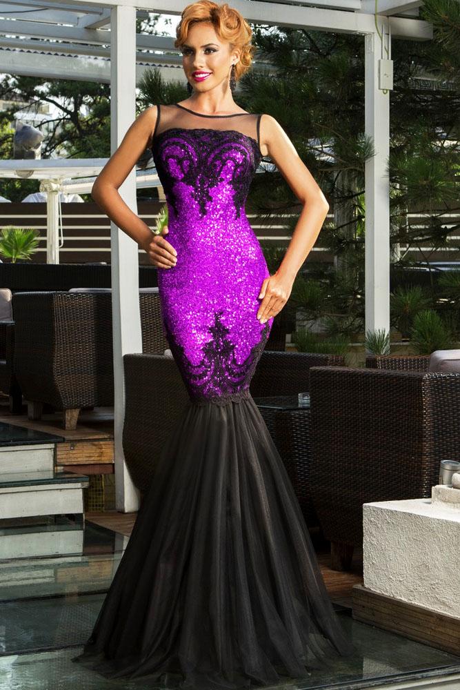ae63465c485d2 Фиолетовое блестящее платье-русалка с открытой спиной - купить ...