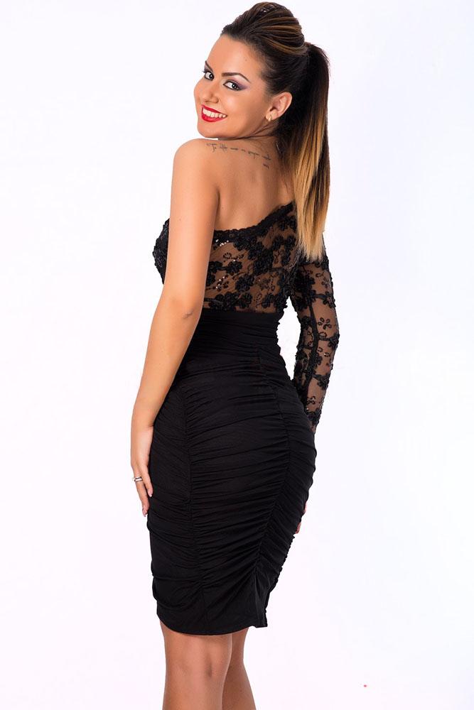 Черное платье с одним рукавом купить