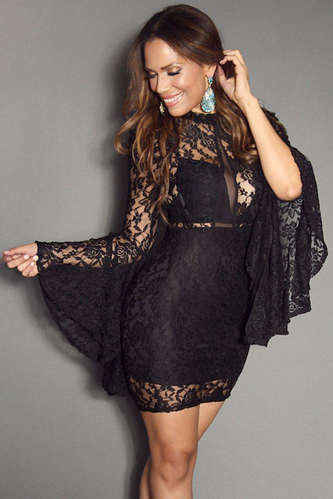 a85f978aa2e Черное кружевное платье с расклешенными рукавами - купить в Казани