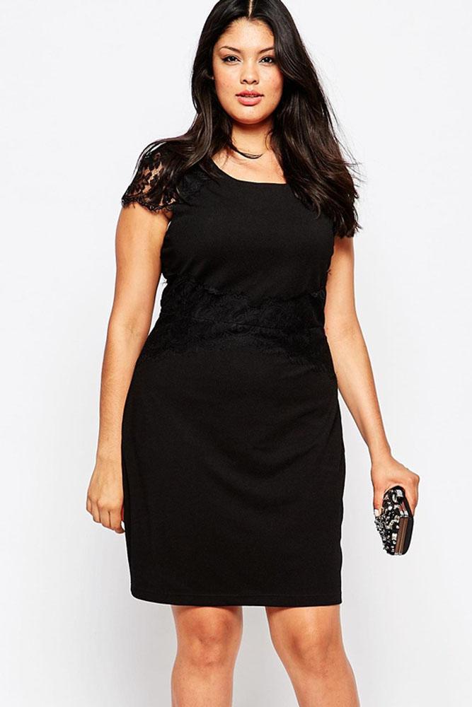 9f1a6a2d36e Черное платье-футляр с короткими кружевными рукавами - купить ...