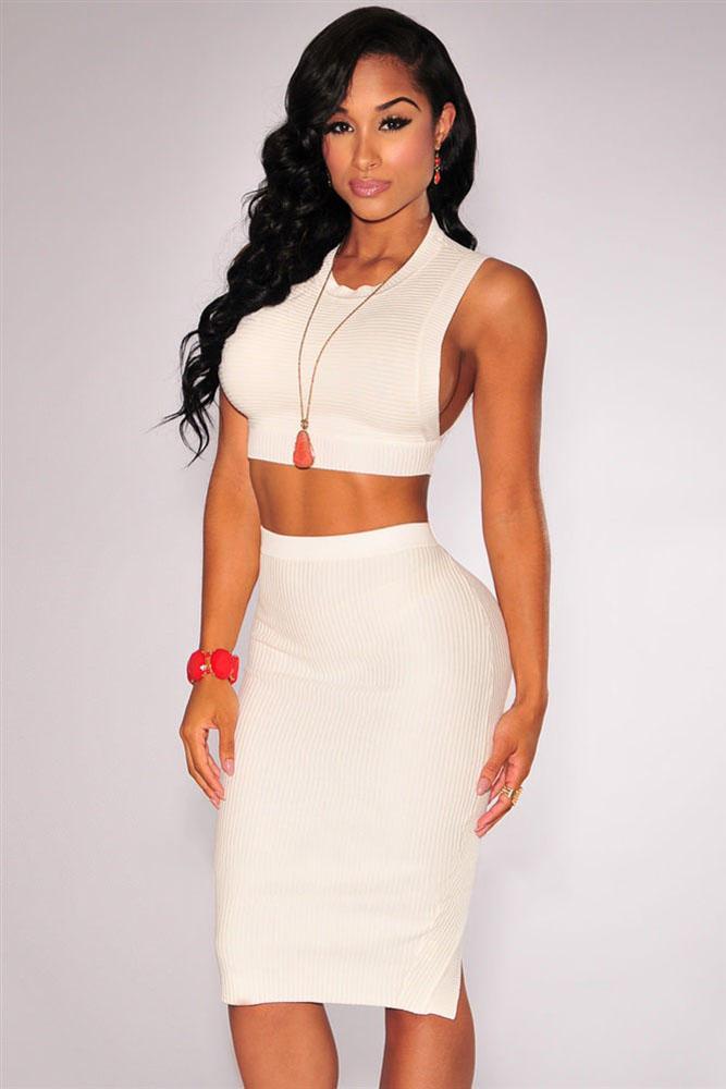 8b517d739469 Белый обтягивающий комплект: асимметричная юбка-карандаш + кроп-топ