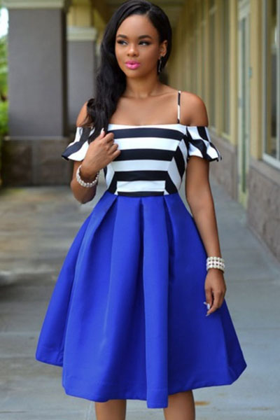 Royal-blue Stripes Flare Dress