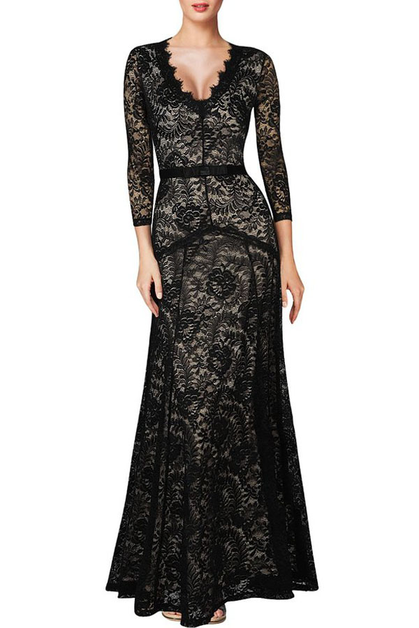 Sexy Plunging Neck Three Quarter Sleeve Black Lace Dress