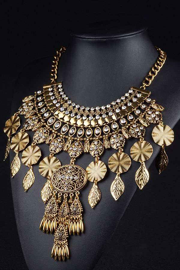 Gold Leaf Rhinestone Statement Chunky Collar Necklace