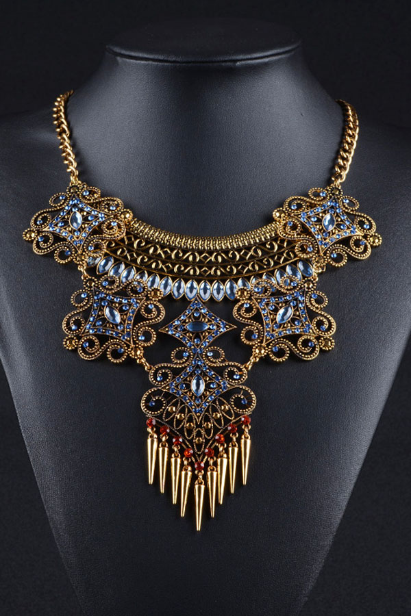 Ancient Gorgeous Filigree Crystal Bib Necklace